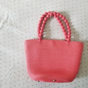 Talbots peachy pink straw small tote bag
